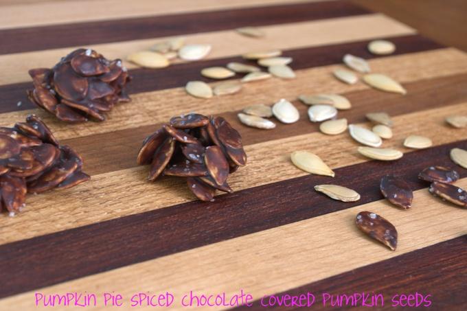 Pumpkin spice chocolate covered pumpkin seeds